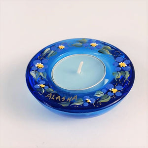 BLUE ALASKA FORGET ME NOT TEA LIGHT HOLDER