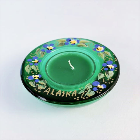 GREEN ALASKA FORGET ME NOT TEA LIGHT HOLDER
