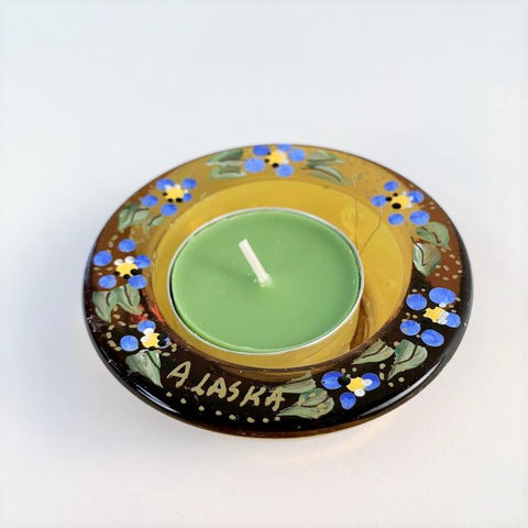 YELLOW ALASKA FORGET ME NOT TEA LIGHT HOLDER
