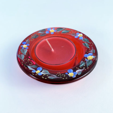 RED FORGET ME NOT TEA LIGHT HOLDER
