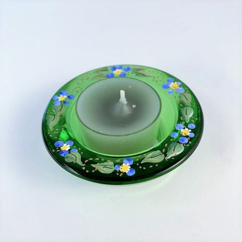 GREEN FORGET ME NOT TEA LIGHT HOLDER