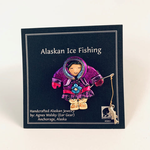 PURPLE FORGET-ME-NOT PARKA ESKIMO ICE FISHING PIN