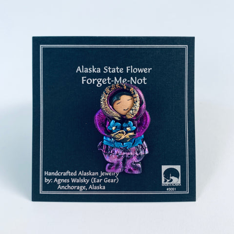 PURPLE PARKA ESKIMO FLOWER PICKING PIN