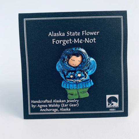 BLUE PARKA ESKIMO FLOWER PICKING PIN