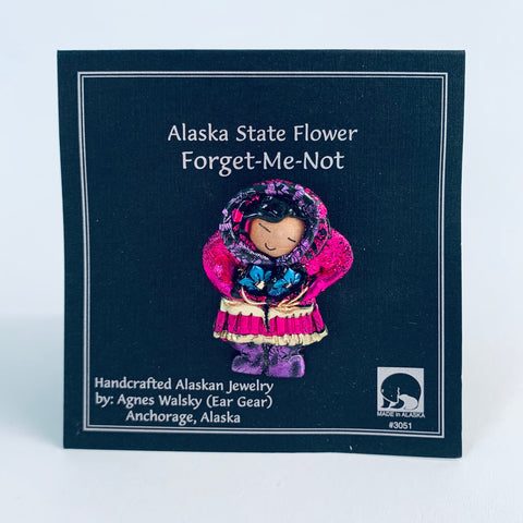 PINK PARKA ESKIMO FLOWER PICKING PIN