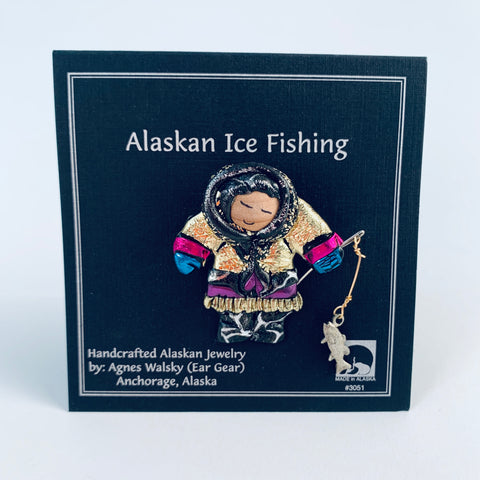 GOLD PARKA ESKIMO ICE FISHING PIN