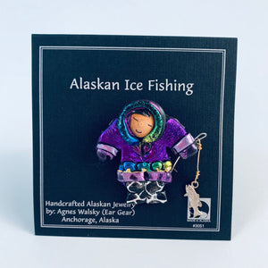 PURPLE PARKA ESKIMO ICE FISHING PIN