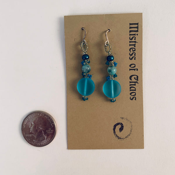 BLUE PEARL, GLASS, AND CHRYSOPRASE EARRINGS