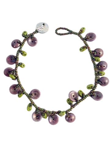 LAVENDER AND GREEN GLASS BEAD CHARM BRACELET