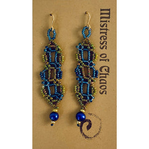 BLUE AND GREEN SEED BEAD EARRINGS