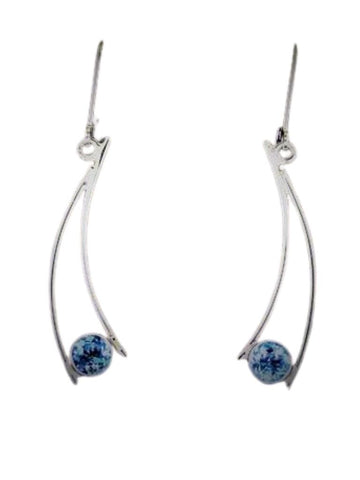 BLUE TOPAZ CURVED EARRING