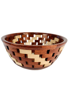 BLOODWOOD & MAPLE LATTICE BOWL