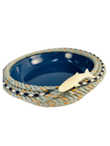 LONGLINE BASKET WITH BLUE CERAMIC DISH AND WHALE EMBELLISHMENT