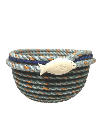 5 INCH LONGLINE BASKET WITH NAVY BLUE ACCENT AND FISH
