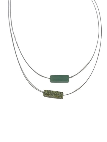 JASPER AND JADE FLOAT NECKLACE