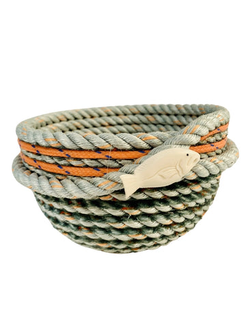 ORANGE RIM LONGLINE BASKET WITH HALIBUT EMBELLISHMENT