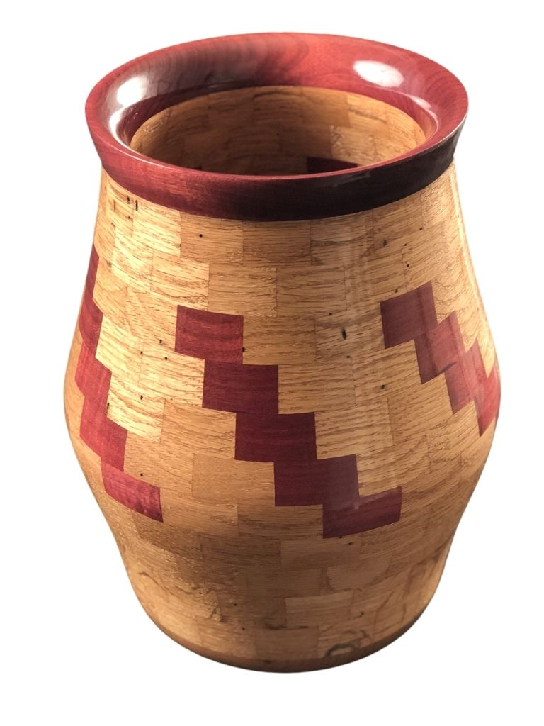 SEGMENTED OAK AND PURPLE HEART VASE