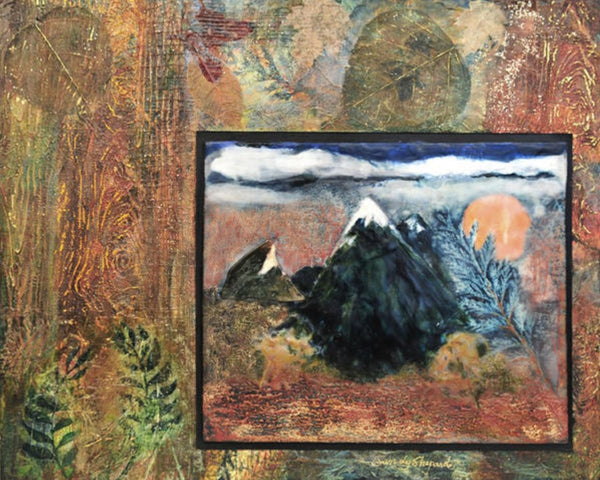 WINDOW THROUGH THE FOREST ORIGINAL ENCAUSTIC AND MIXED MEDIA COLLAGE