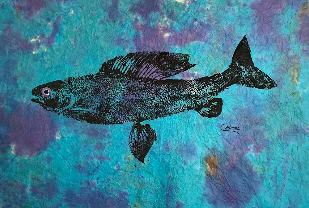 ARCTIC GRAYLING ON BLUE ORIGINAL GYOTAKU