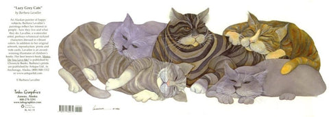 LAZY GREY CATS ART CARD