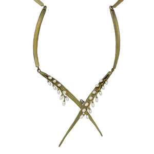 "RICE PEARL 20"" LEAF CONTOUR NECKLACE"