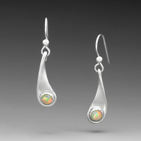 RAINDROP EARRINGS WITH SIMULATED OPAL