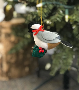 CHICKADEE STUFFED FELT ORNAMENT