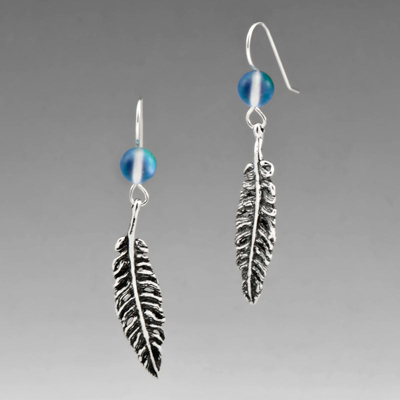 FEATHER EARRINGS WITH HOLOGRAPHIC QUARTZ