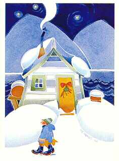 WINTER CABIN ART CARD