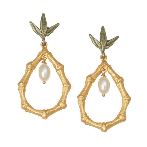 BAMBOO TEARDROP EARRINGS WITH PEARL