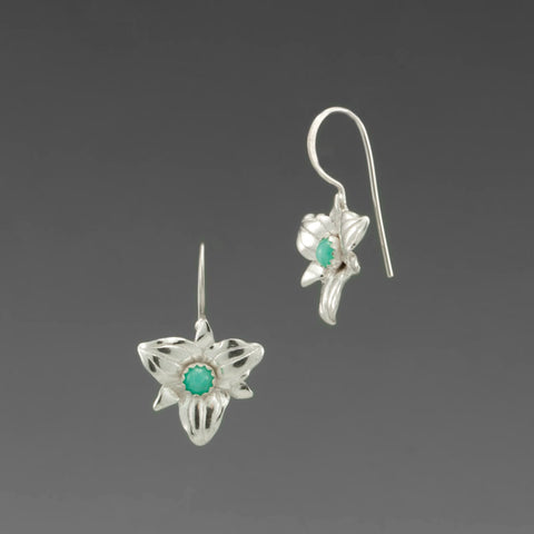 TRILLIUM HOOK EARRING WITH AMAZONITE