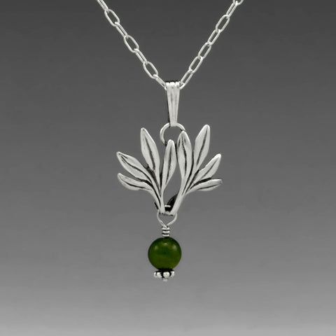 BAMBOO PENDANT WITH JADE DROP SMALL