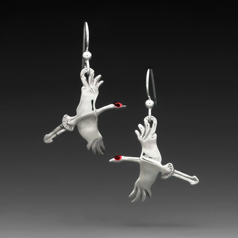 SANDHILL CRANE ENAMEL EARRINGS