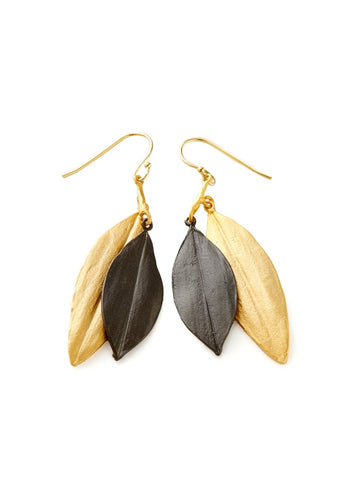 CORDYLINE DOUBLE LEAF WIRE EARRINGS