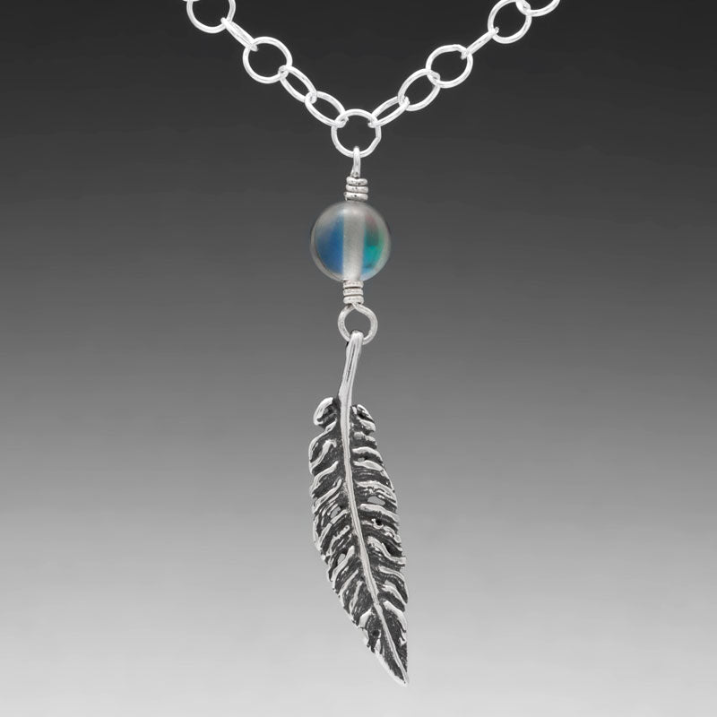 FEATHER PENDANT WITH HOLOGRAPHIC QUARTZ