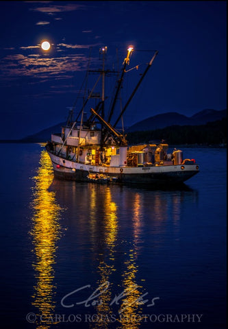 FISHING BOAT UNDER A FULL MOON 12X18