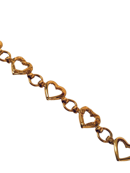 GOLD HEART BRACELET WITH NUGGET OVERLAY