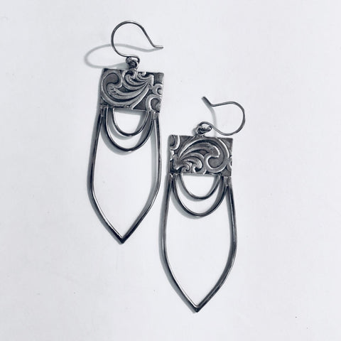 STAMPED SHIELD EARRINGS