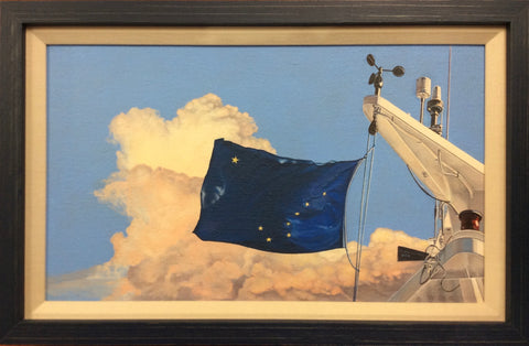 PROUD BANNER FRAMED ORIGINAL OIL