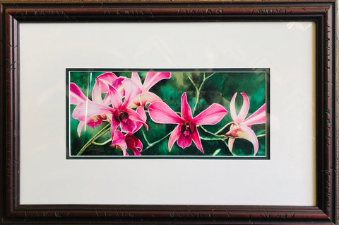 ORCHIDS ORIGINAL WATERCOLOR FRAMED