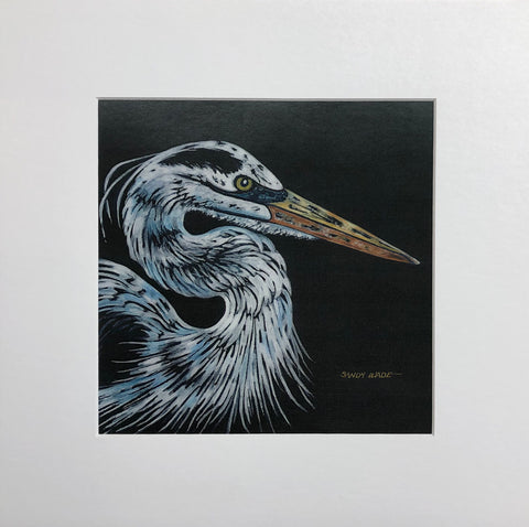 BLUE HERON ON BLACK