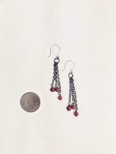 CRANBERRY CHAINMAIL EARRINGS