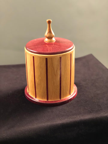 LIDDED CANISTER PURPLE HEART AND OAK