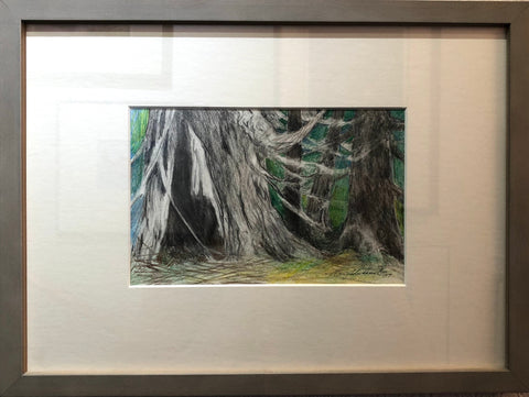 FIRE TREE ENGULFED BY FOREST ORIGINAL DRAWING FRAMED