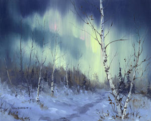 Aurora and Birches