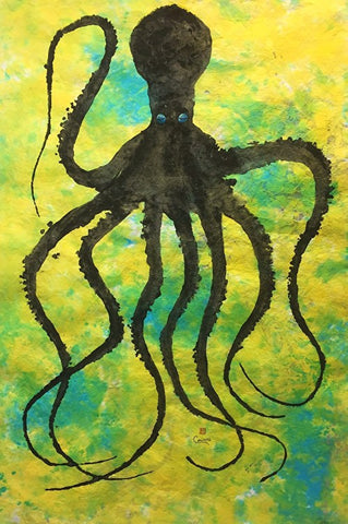 OCTOPUS ON BLUE GREEN & YELLOW ORIGINAL GYOTAKU
