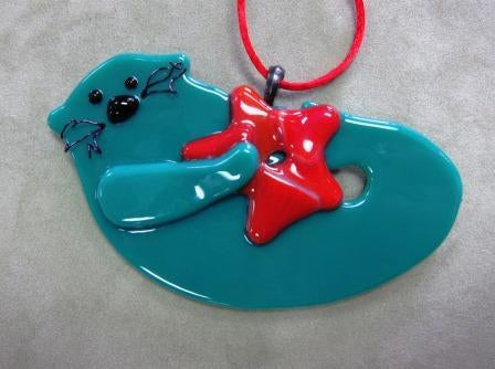 SEA OTTER ORNAMENT TEAL