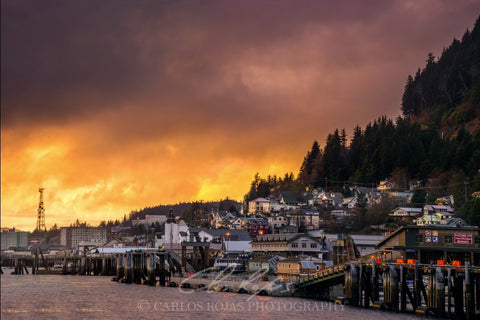 SUNSET LIGHT OVER KETCHIKAN 12x18 ON METAL