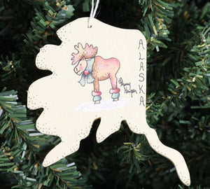 STATE WITH MOOSE ORNAMENT