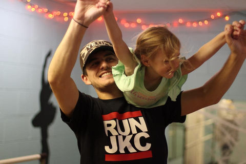 Josie and her daddy in his custom Run DMC-inspired tee.